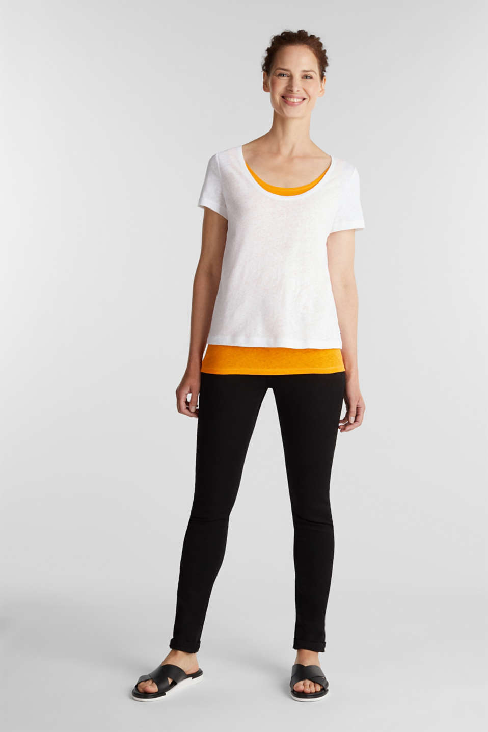 Linen blend: Layered look T-shirt, WHITE, detail image number 1
