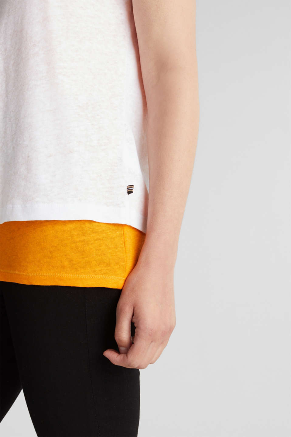 Linen blend: Layered look T-shirt, WHITE, detail image number 2