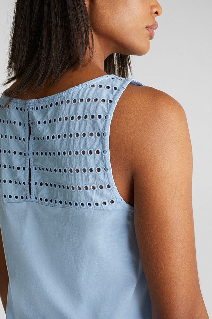 Fabric mix top with broderie anglaise, LIGHT BLUE, detail image number 2