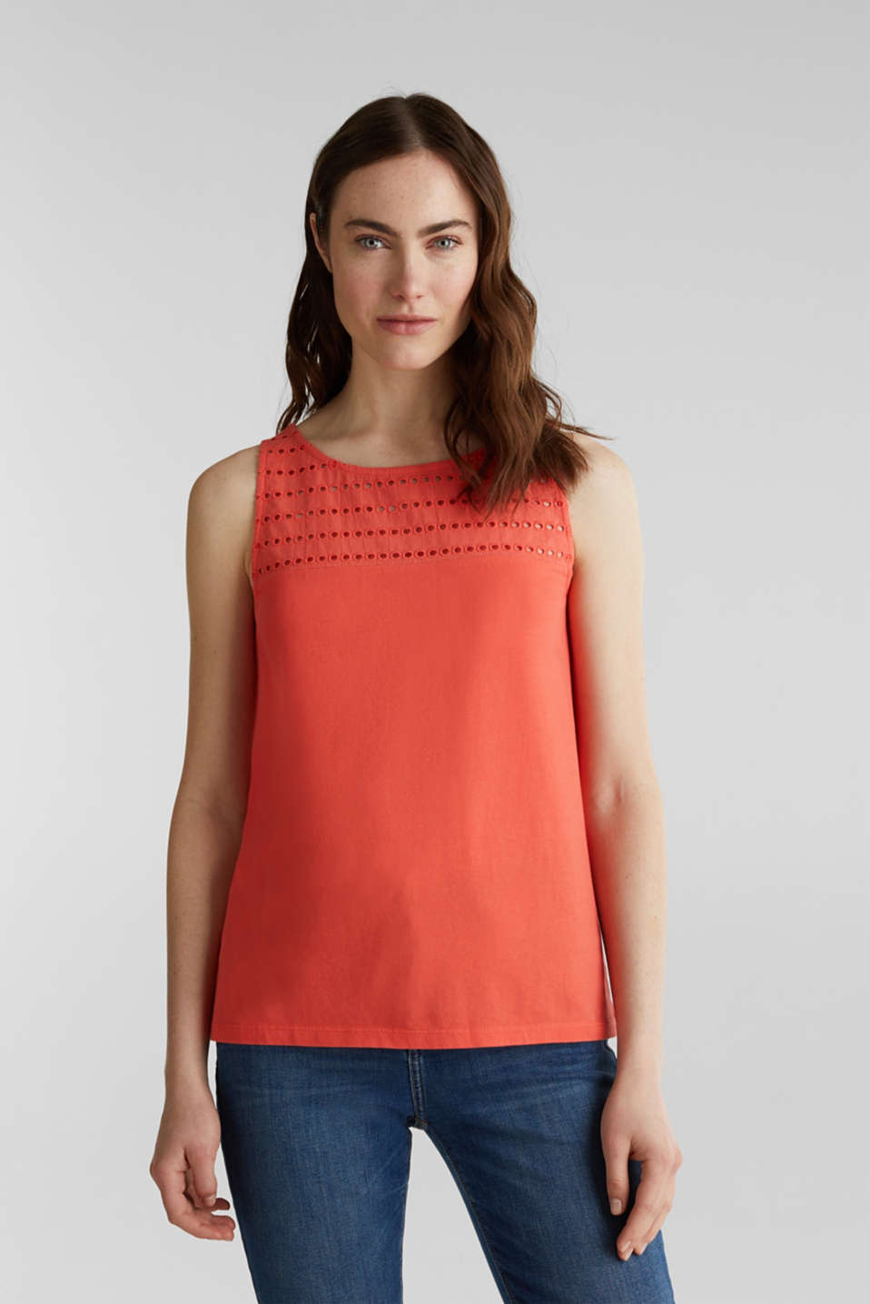 Fabric mix top with broderie anglaise, CORAL 4, detail image number 0