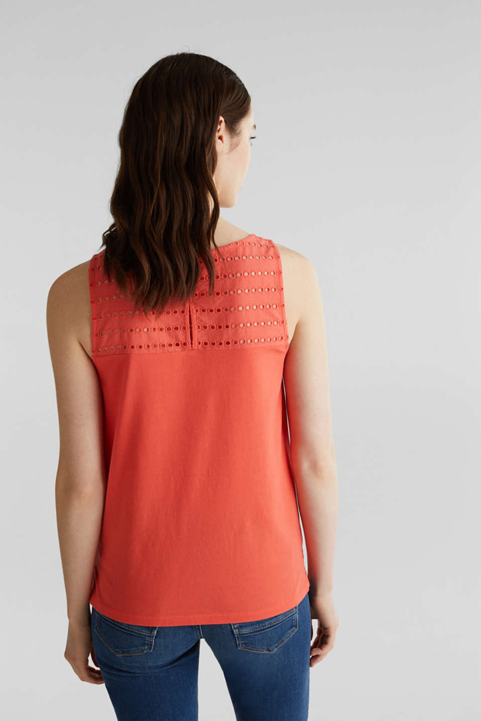 Fabric mix top with broderie anglaise, CORAL 4, detail image number 3