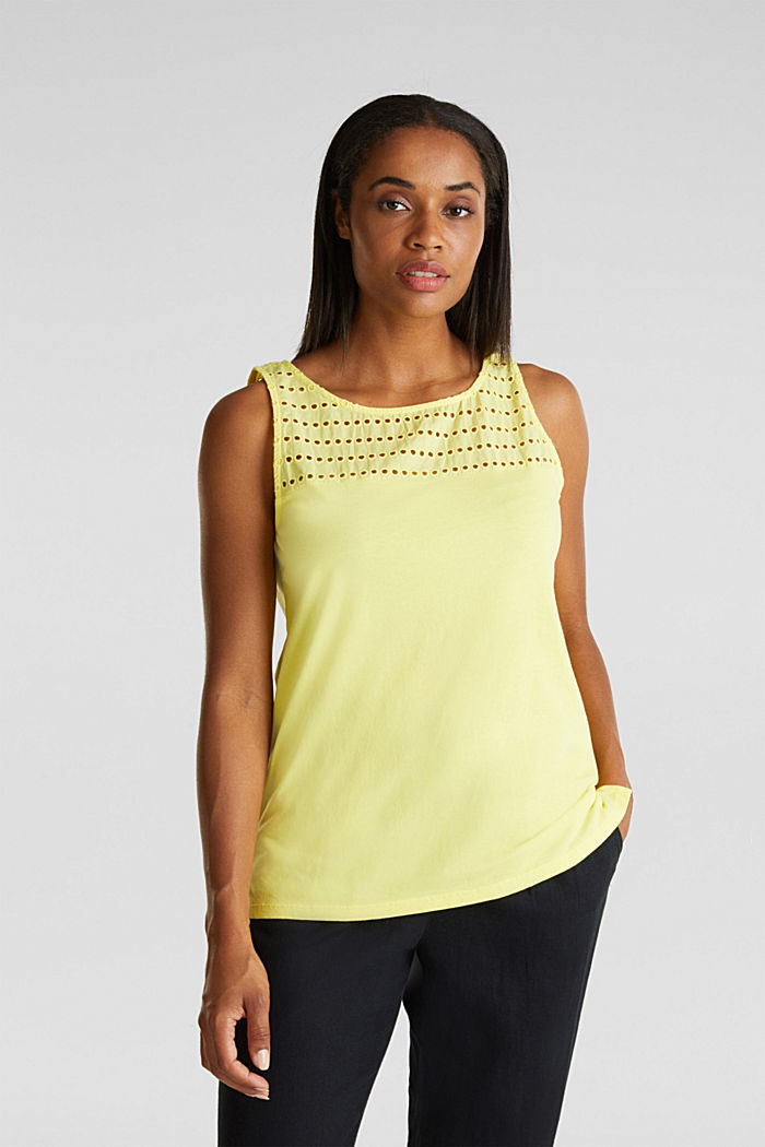 Fabric mix top with broderie anglaise, BRIGHT YELLOW, detail image number 0