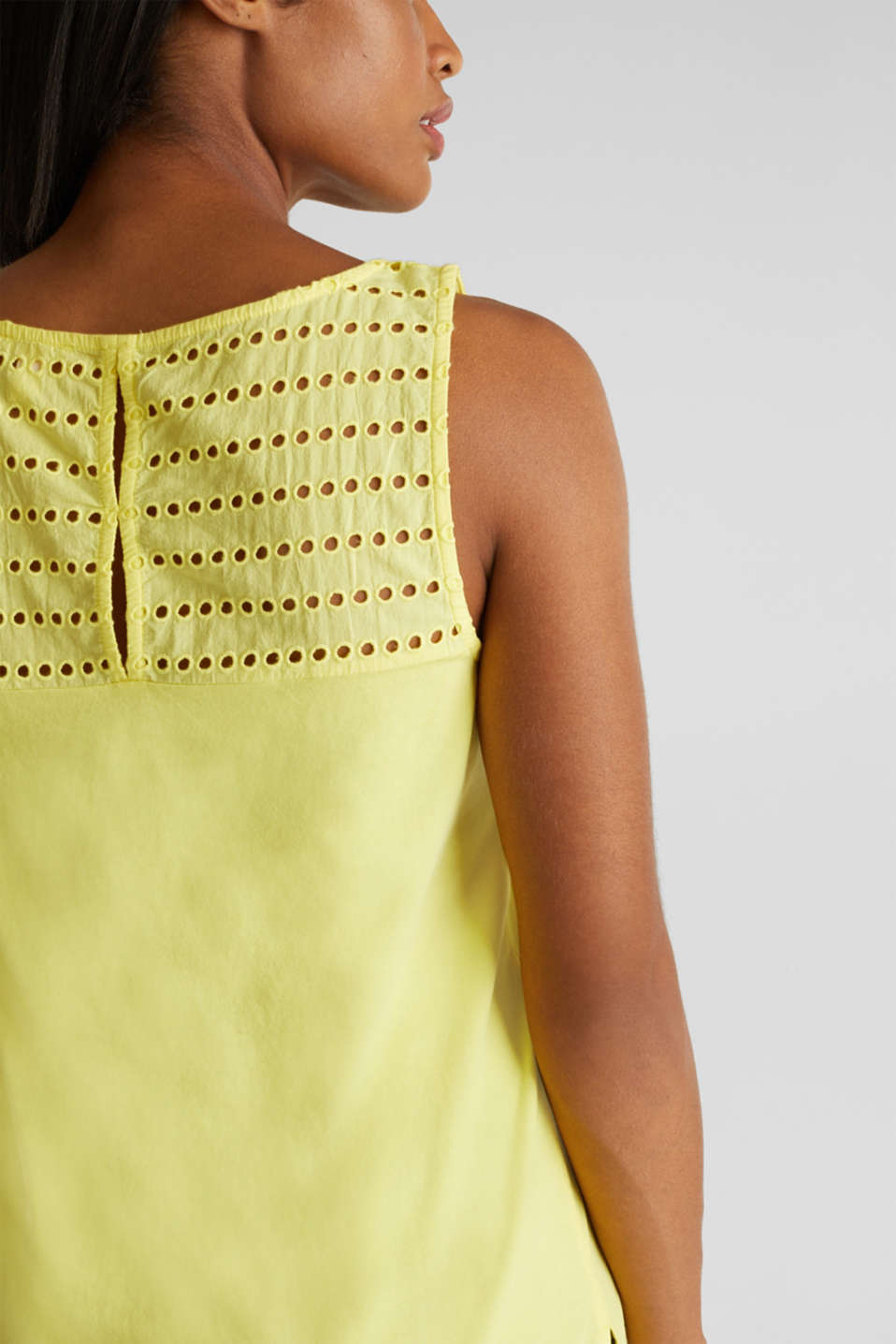 Fabric mix top with broderie anglaise, BRIGHT YELLOW 4, detail image number 2