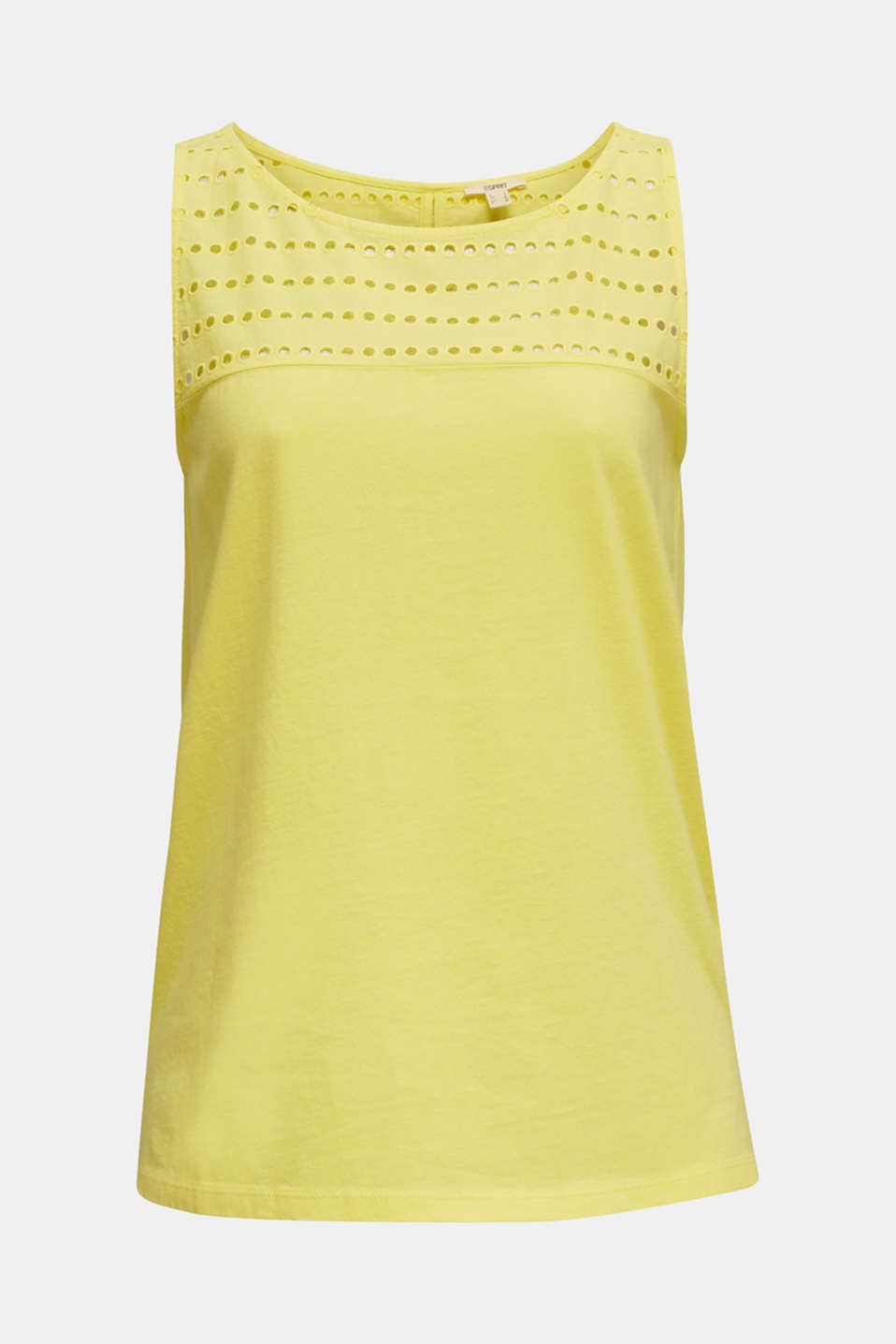 Fabric mix top with broderie anglaise, BRIGHT YELLOW 4, detail image number 6