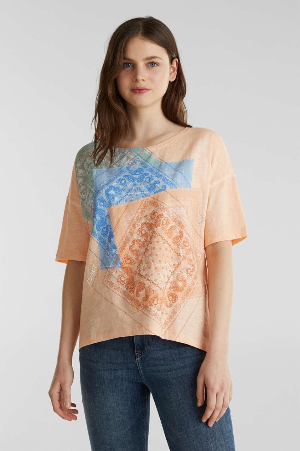 Slub T-shirt with print, 100% organic cotton, PEACH, detail image number 0