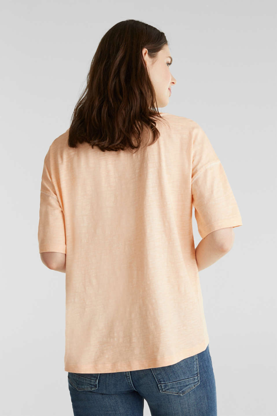 Slub T-shirt with print, 100% organic cotton, PEACH, detail image number 3
