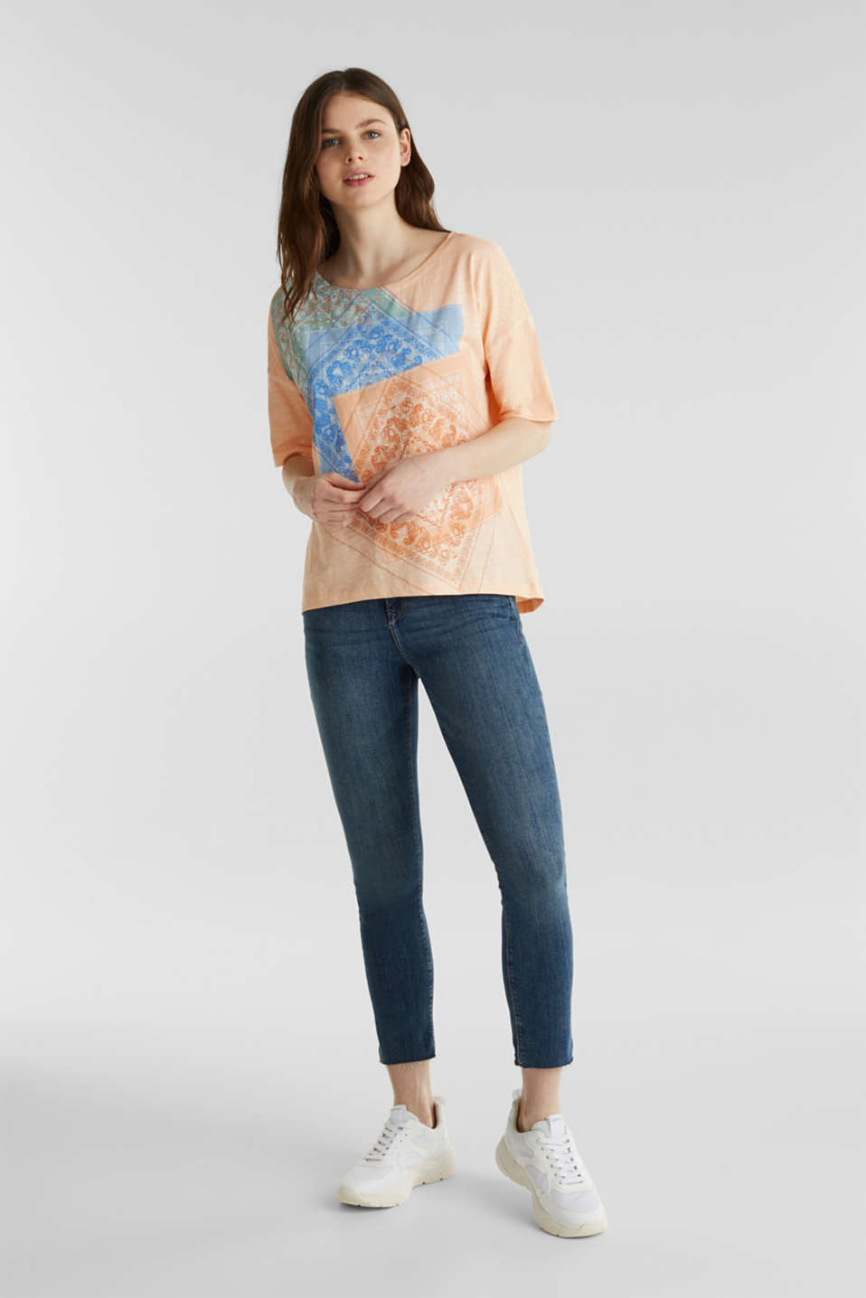 Slub T-shirt with print, 100% organic cotton, PEACH, detail image number 1