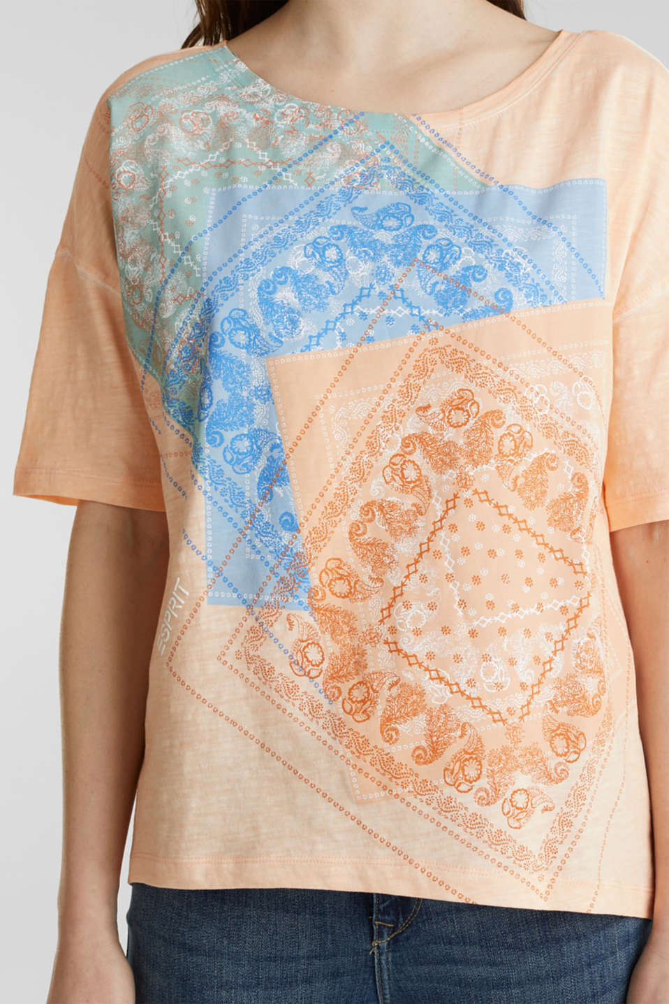 Slub T-shirt with print, 100% organic cotton, PEACH, detail image number 2
