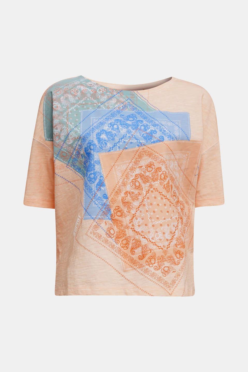 Slub T-shirt with print, 100% organic cotton, PEACH, detail image number 5