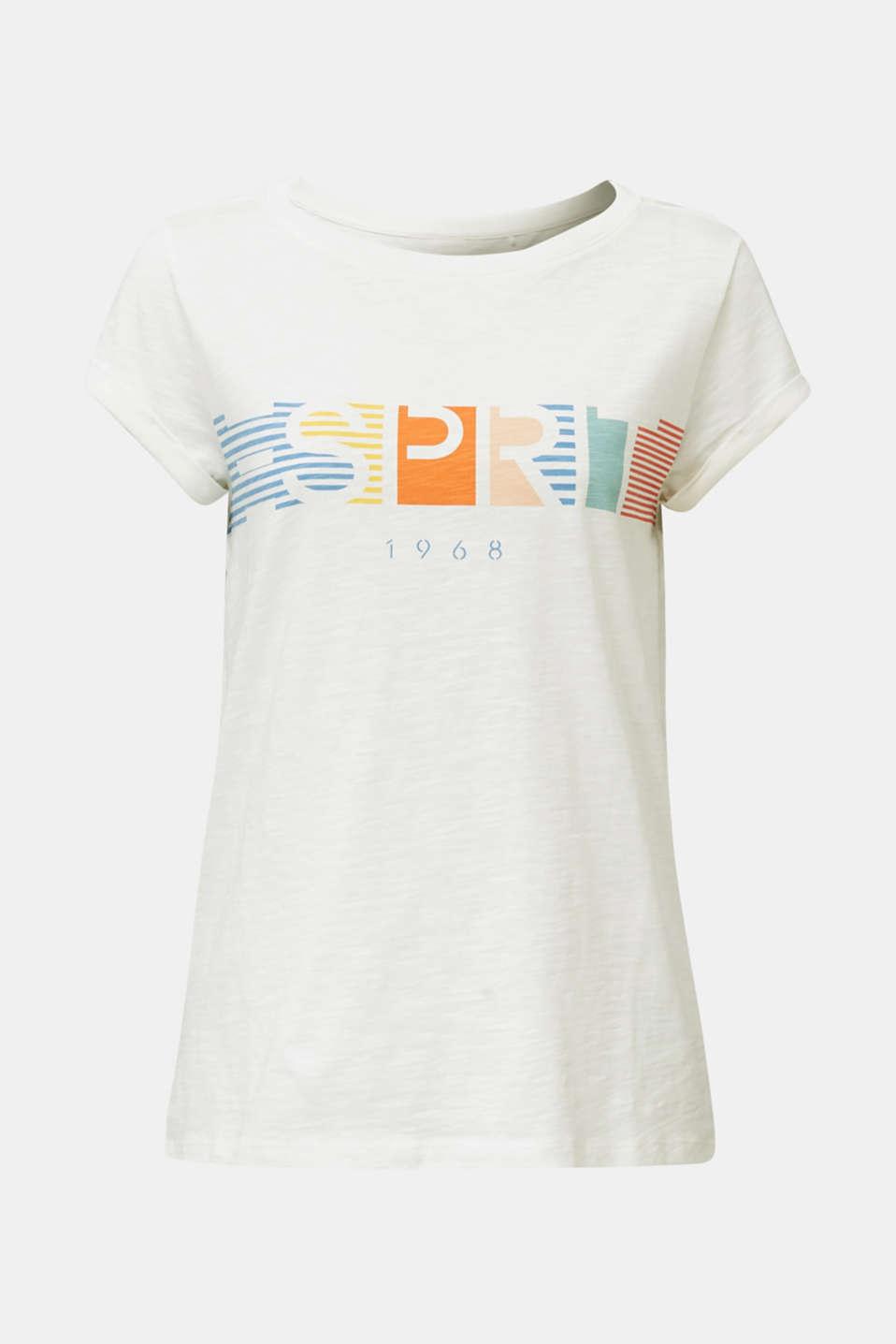 Slub top with logo print, 100% organic cotton, OFF WHITE, detail image number 5