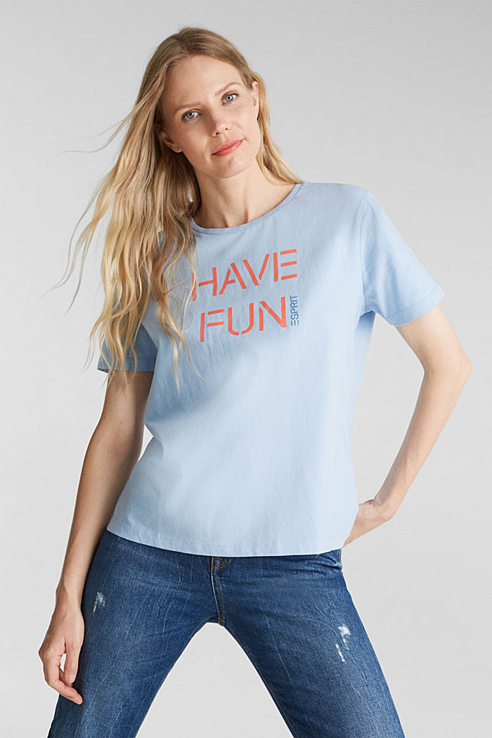 Printed T-shirt in 100% cotton, LIGHT BLUE, detail image number 0