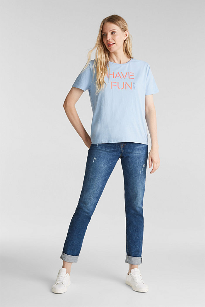 Printed T-shirt in 100% cotton, LIGHT BLUE, detail image number 1
