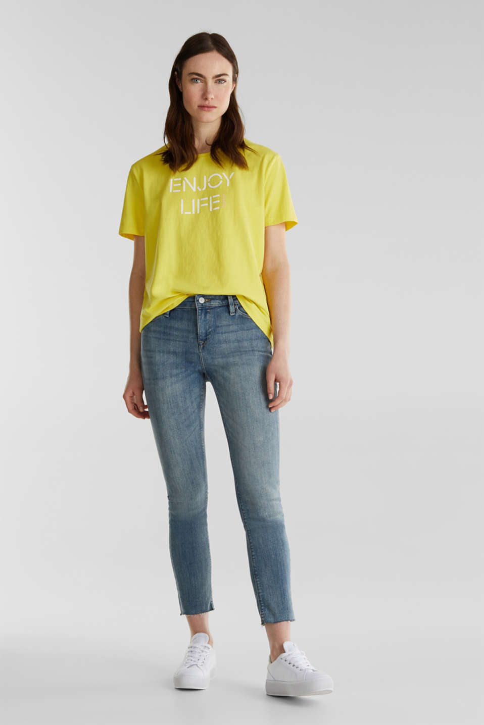 Printed T-shirt in 100% cotton, BRIGHT YELLOW, detail image number 1