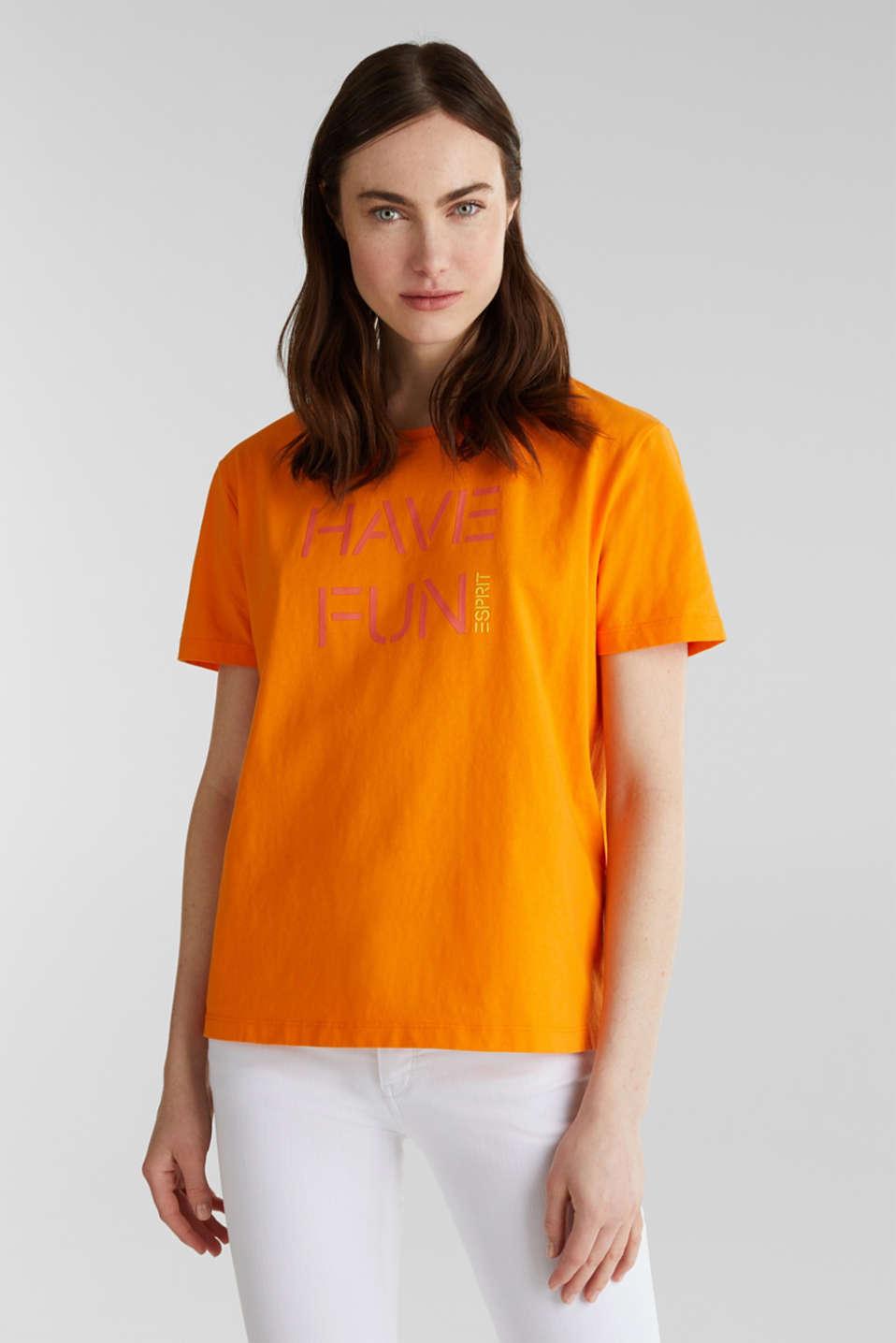 Printed T-shirt in 100% cotton, ORANGE, detail image number 0