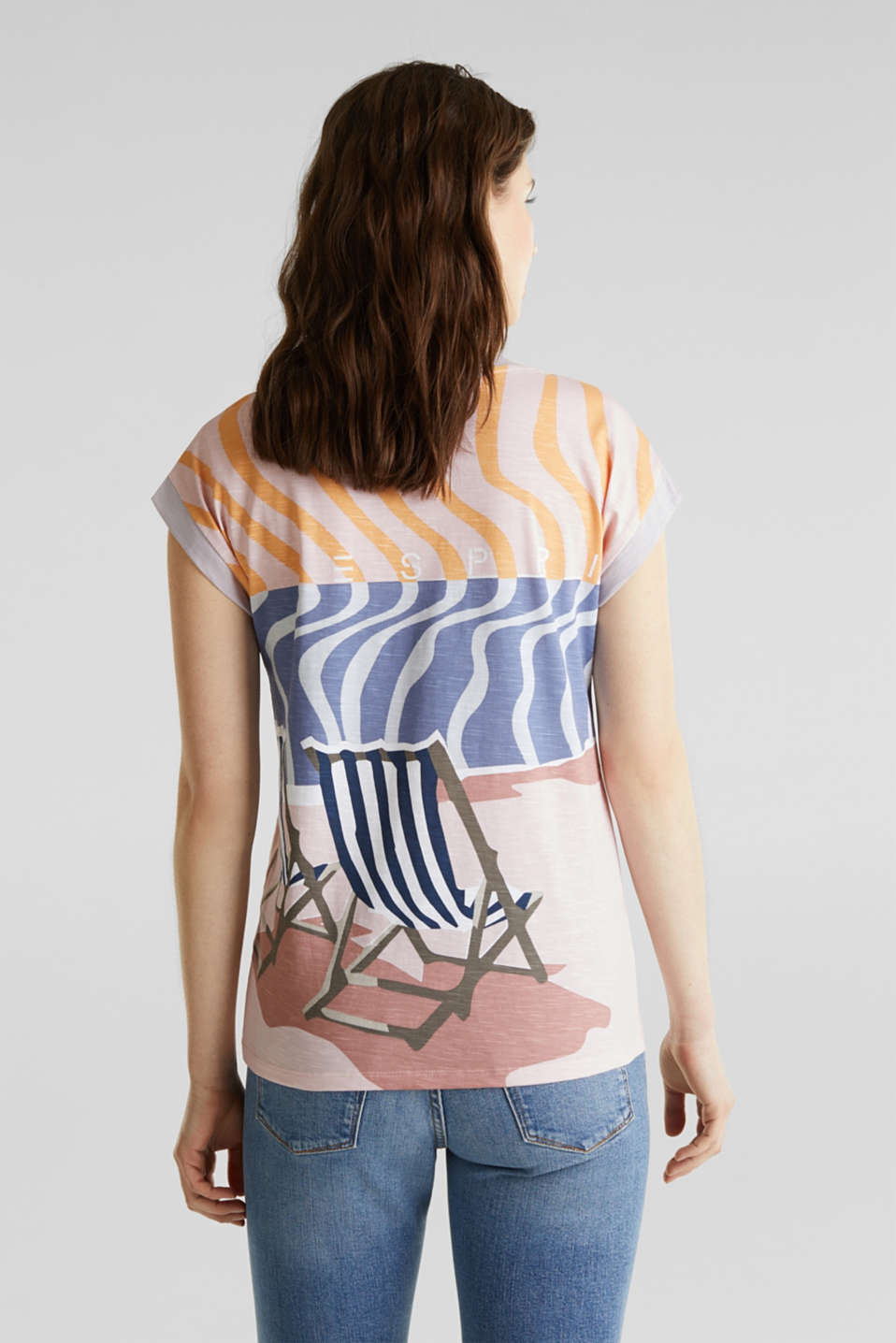 Top with an all-over print, 100% organic cotton, PEACH, detail image number 3