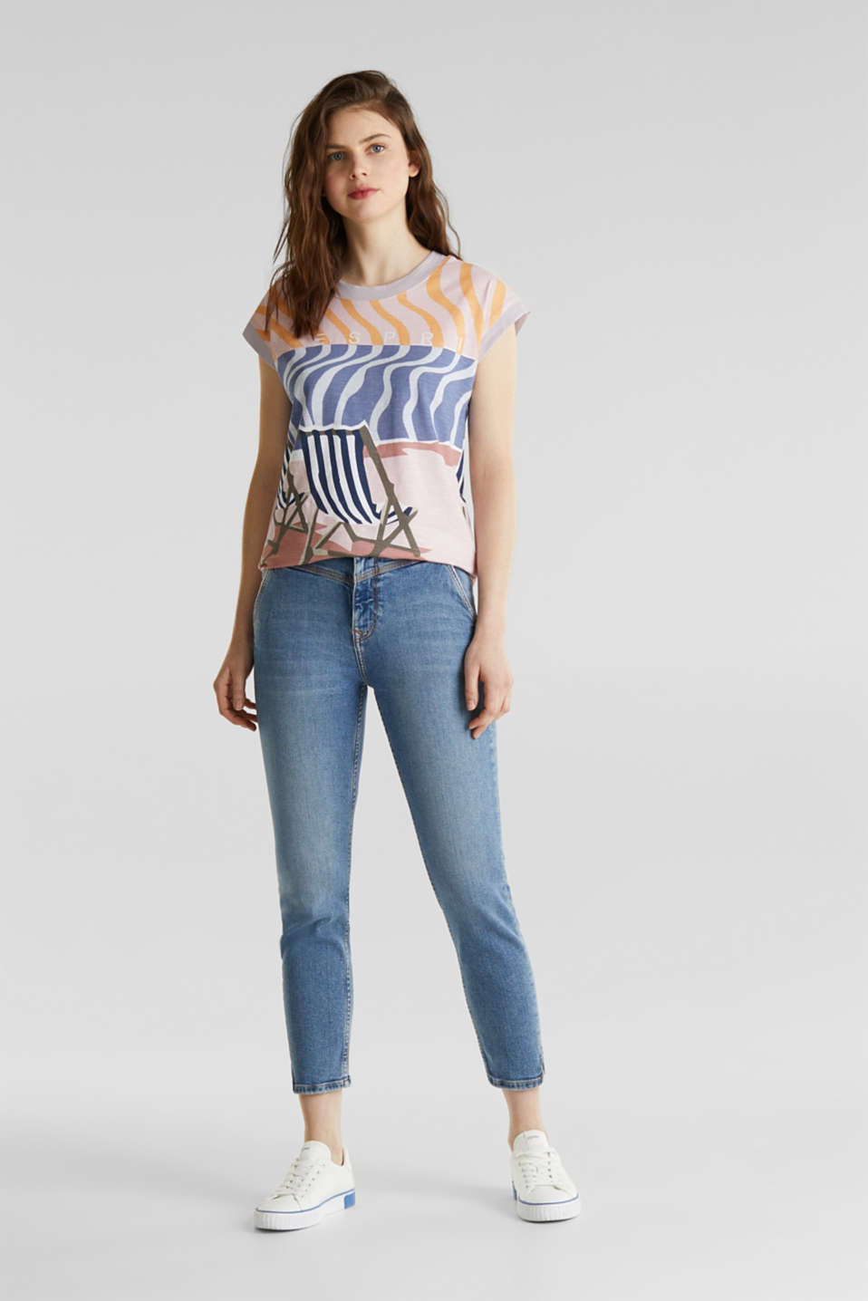 Top with an all-over print, 100% organic cotton, PEACH, detail image number 1