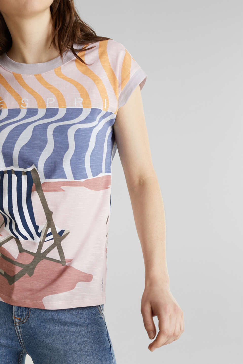 Top with an all-over print, 100% organic cotton, PEACH, detail image number 2