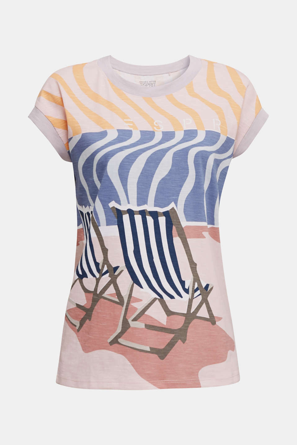 Top with an all-over print, 100% organic cotton, PEACH, detail image number 5