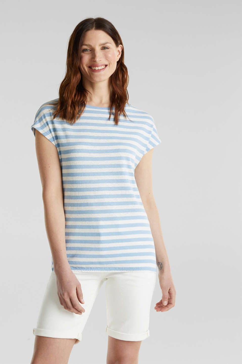 Esprit - Blended linen top with an elasticated waistband