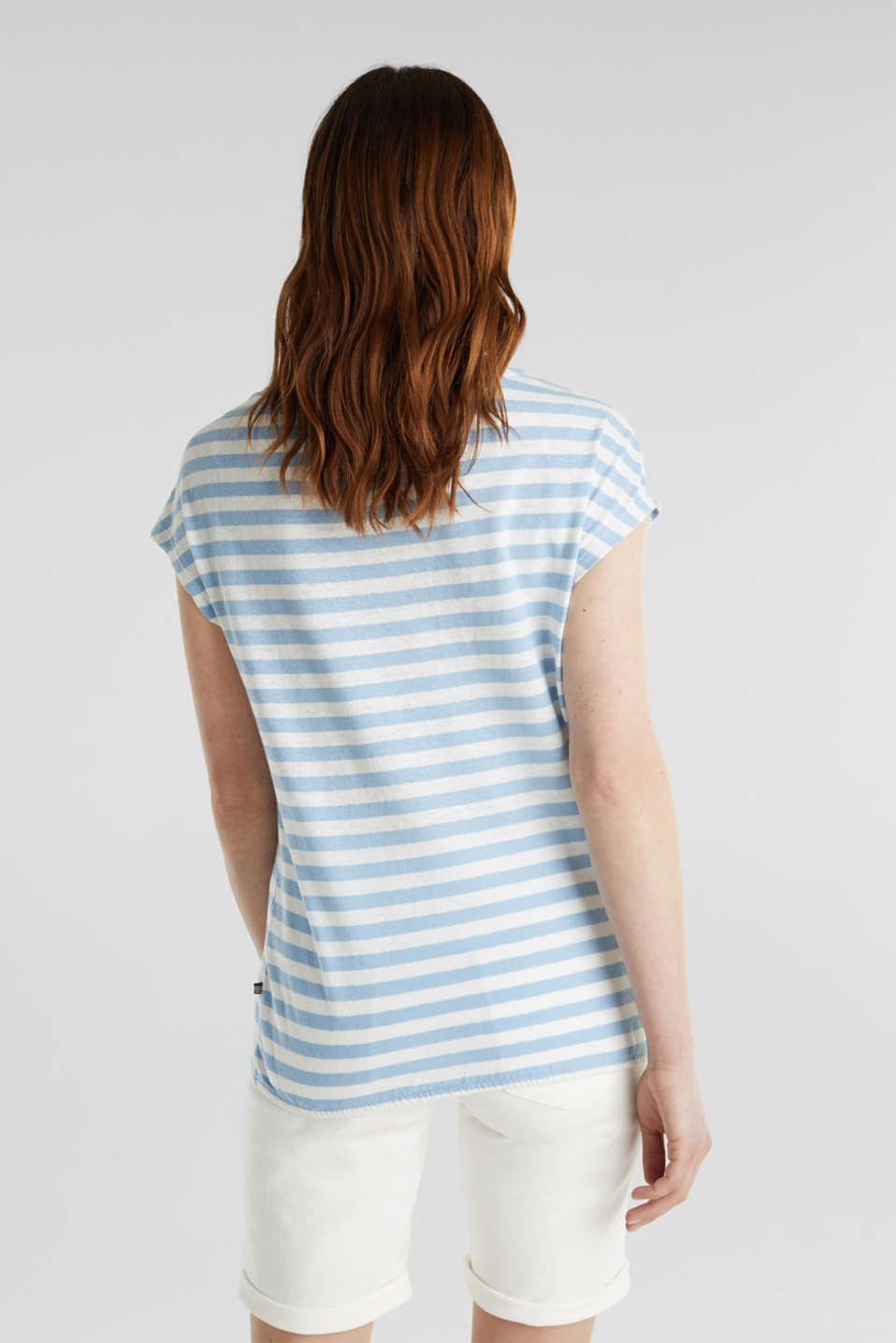 Blended linen top with an elasticated waistband, LIGHT BLUE 4, detail image number 2
