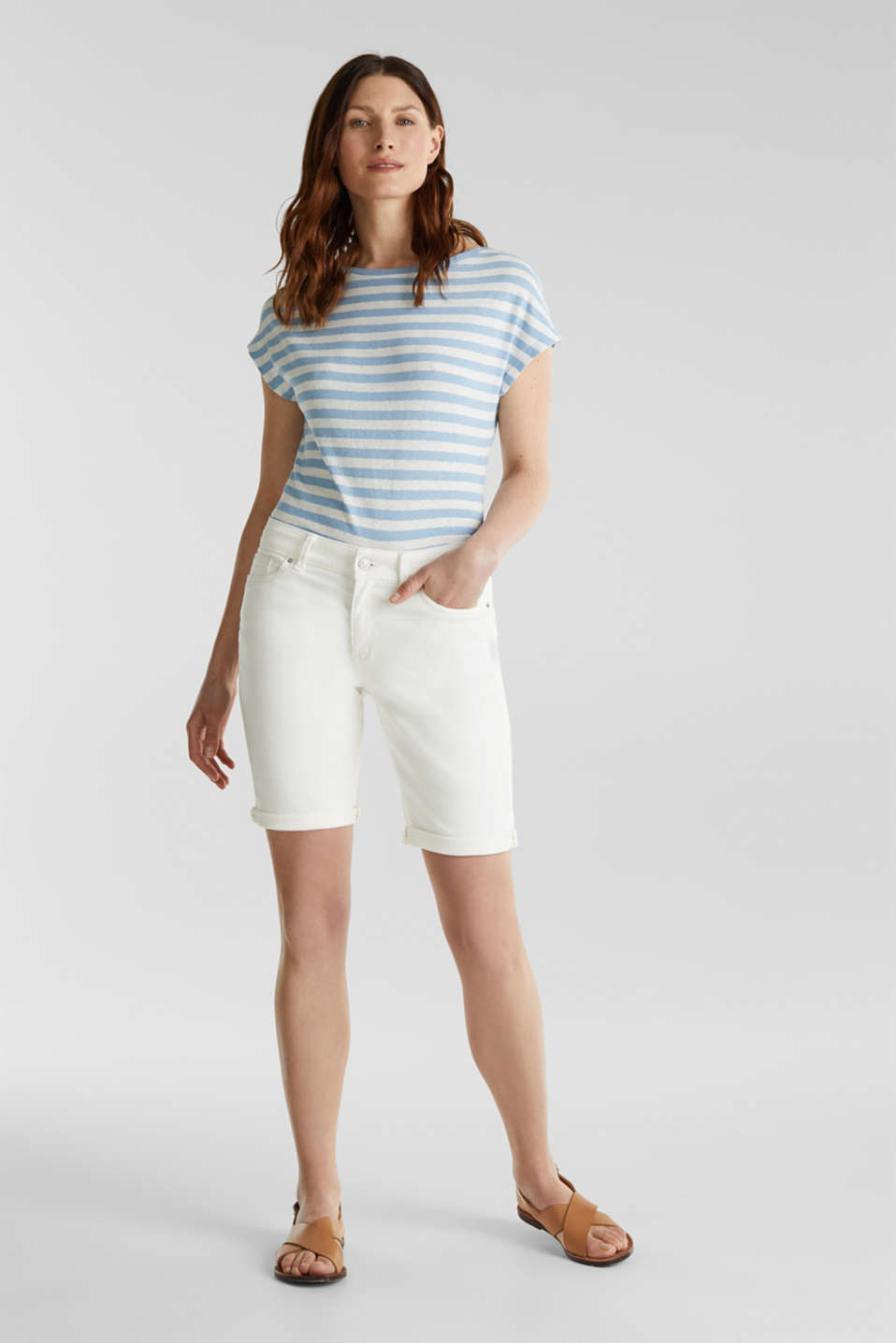 Blended linen top with an elasticated waistband, LIGHT BLUE 4, detail image number 1