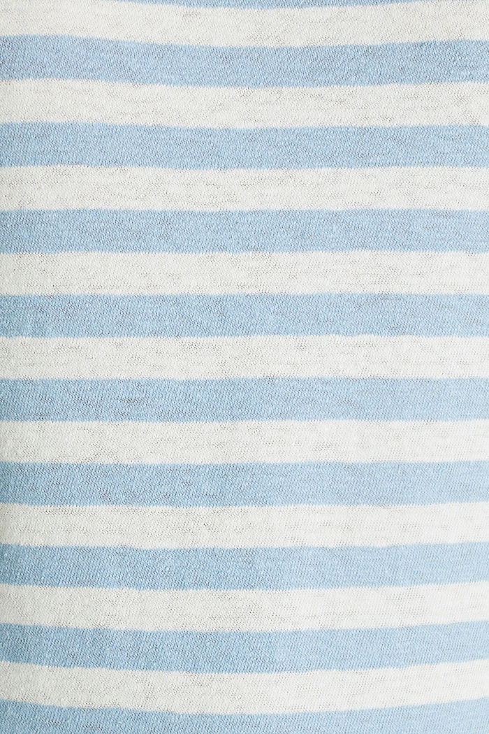 Blended linen top with an elasticated waistband, LIGHT BLUE, detail image number 3