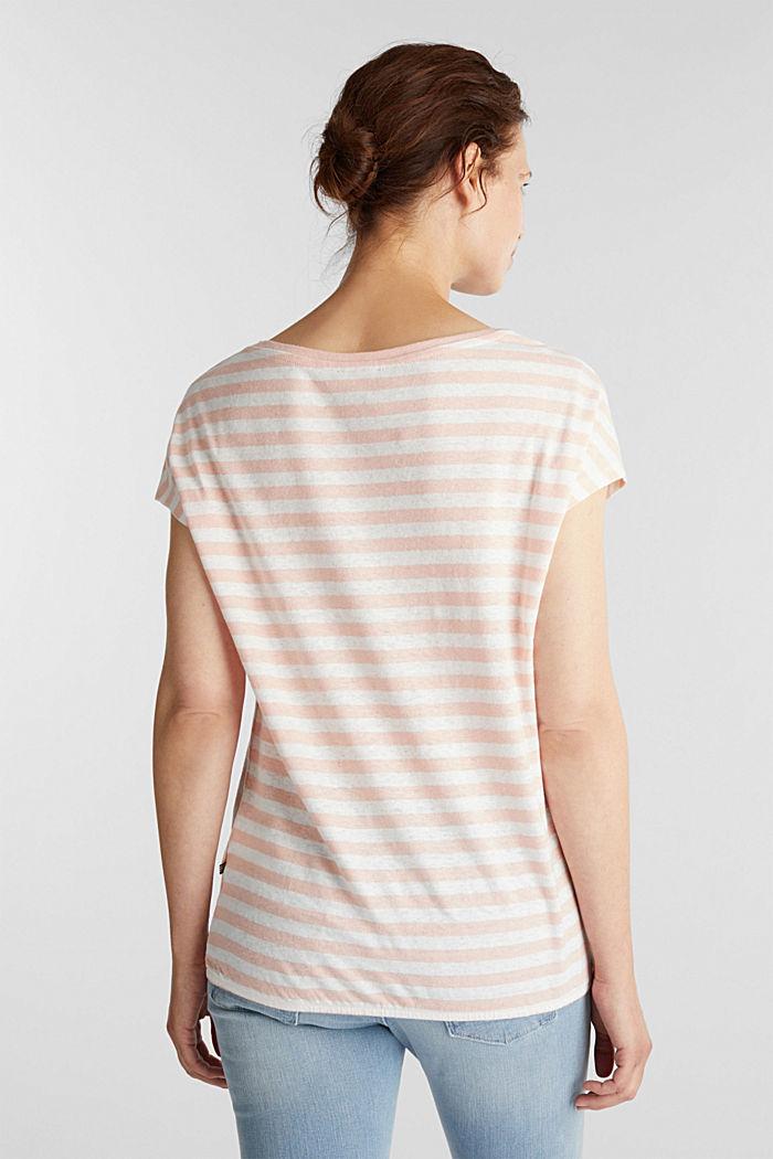 Aus Leinen-Mix: Shirt mit Gummizug, PEACH, detail image number 3