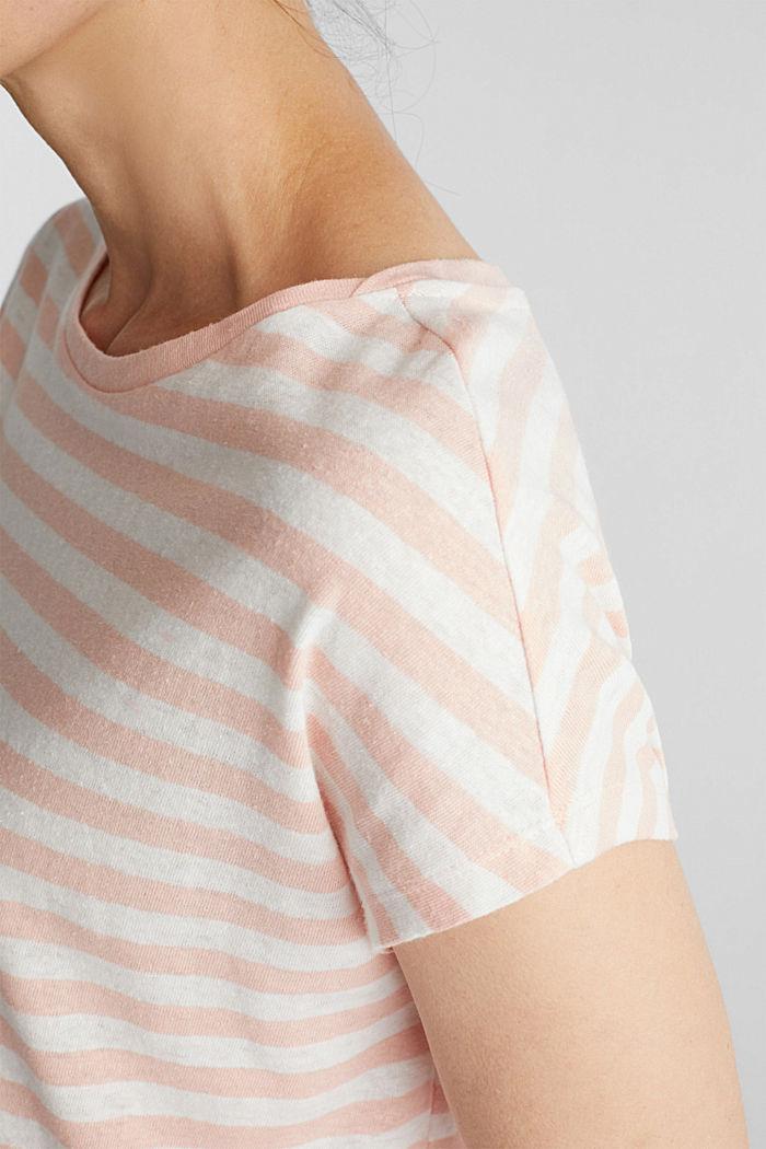 Aus Leinen-Mix: Shirt mit Gummizug, PEACH, detail image number 2