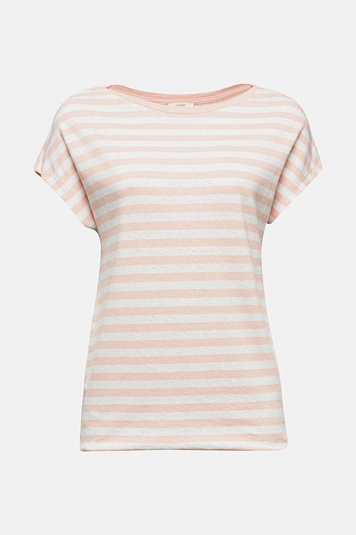Aus Leinen-Mix: Shirt mit Gummizug, PEACH, detail image number 6