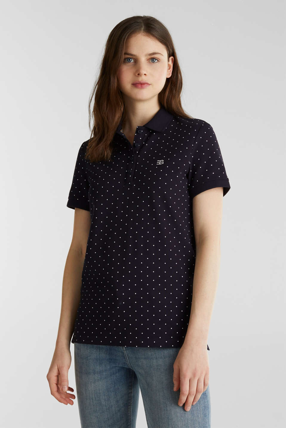 Piqué polo shirt with a polka dot print, NAVY, detail image number 0