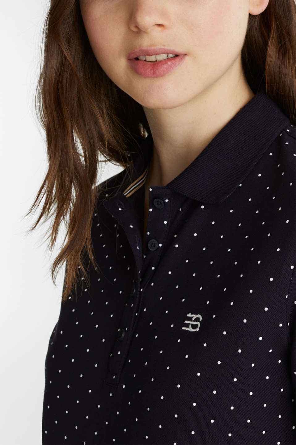 Piqué polo shirt with a polka dot print, NAVY, detail image number 2