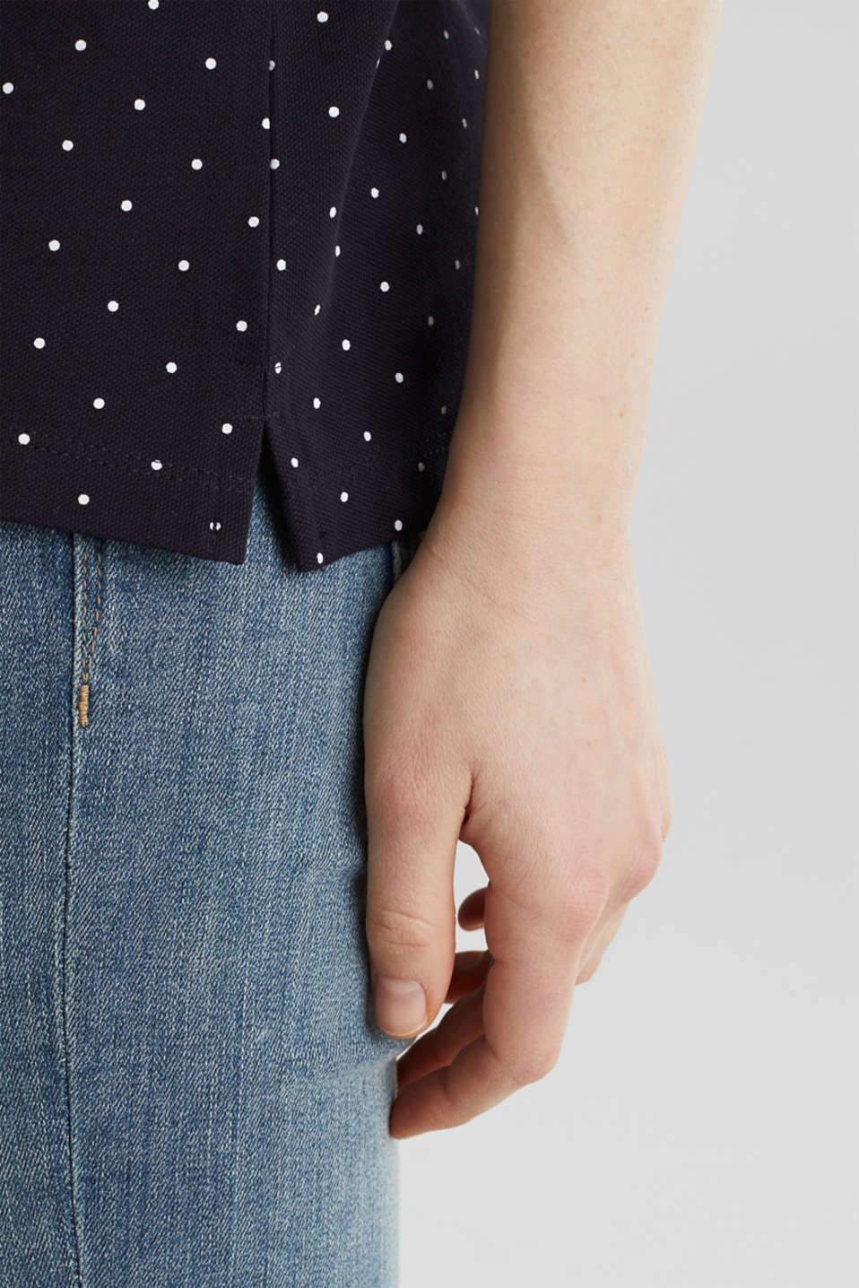 Piqué polo shirt with a polka dot print, NAVY, detail image number 5