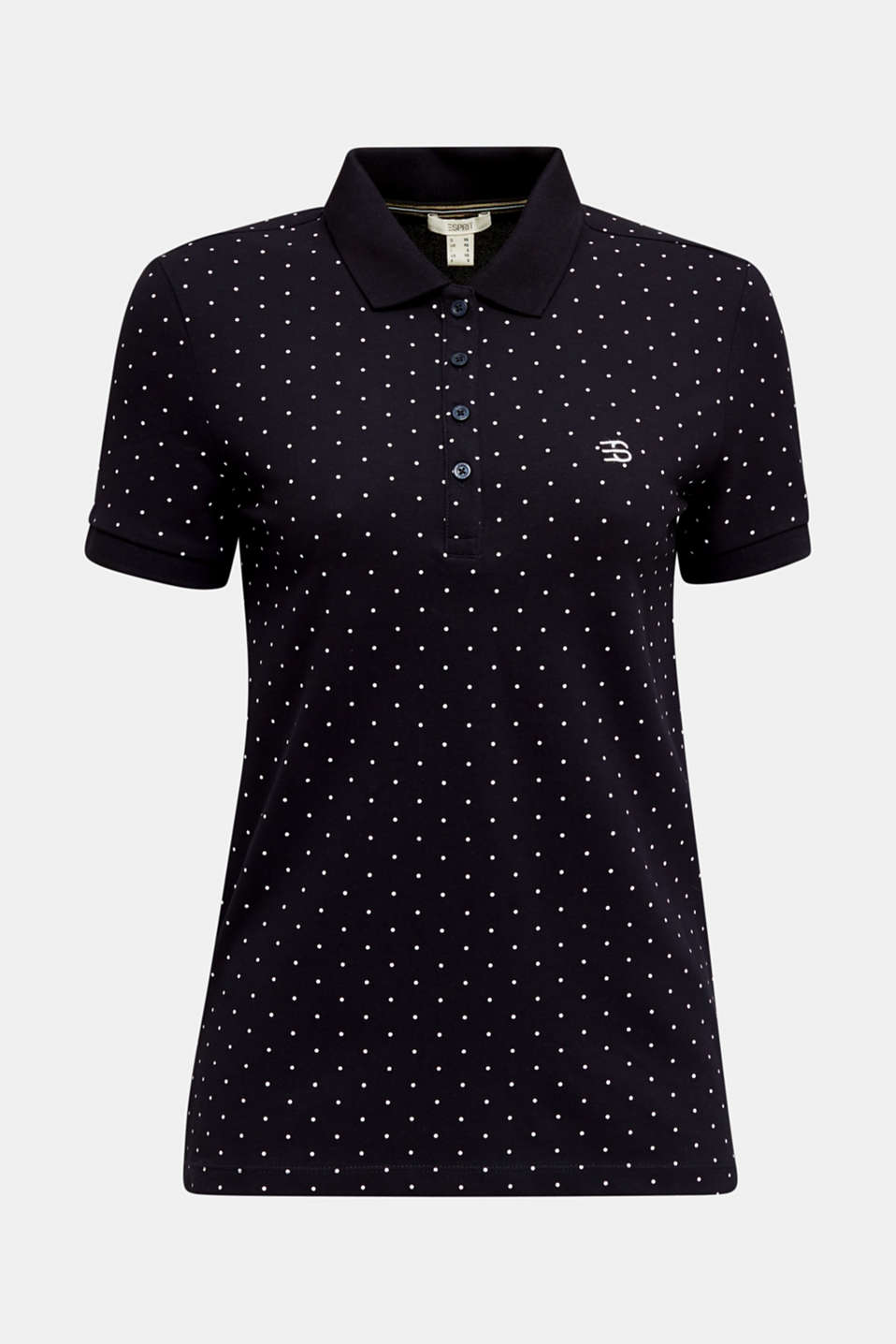 Piqué polo shirt with a polka dot print, NAVY, detail image number 6