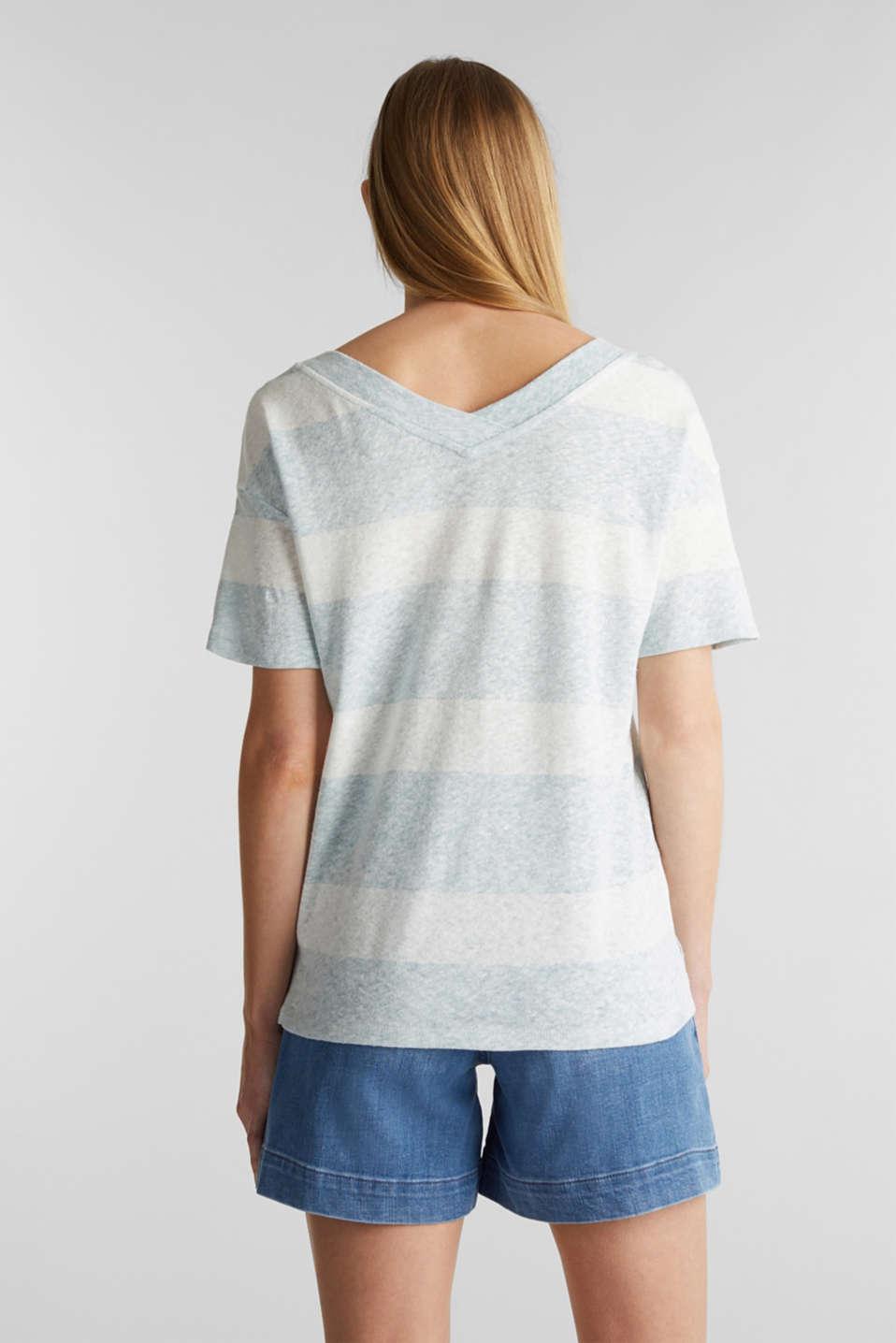 Blended linen: double V-neck T-shirt, LIGHT AQUA GREEN, detail image number 3