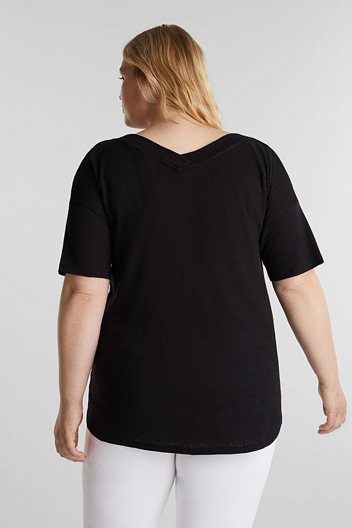 Linen blend CURVY V-neck top, BLACK, detail image number 3