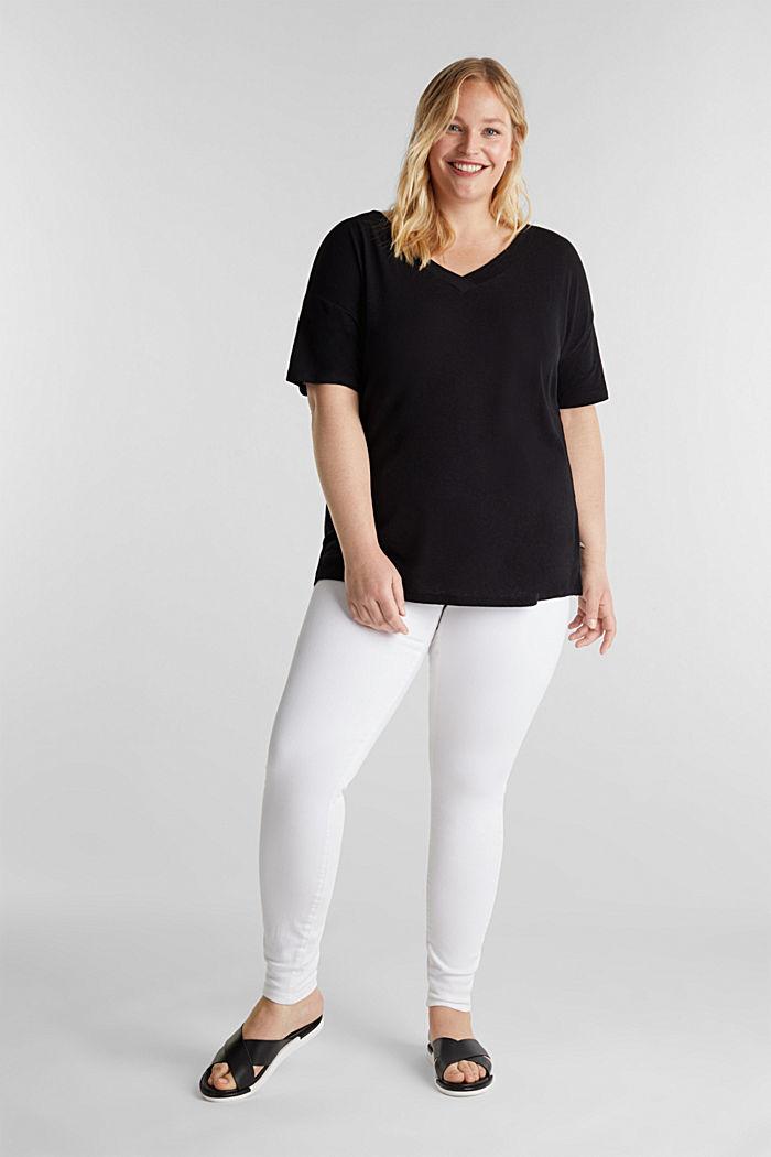 Linen blend CURVY V-neck top, BLACK, detail image number 1