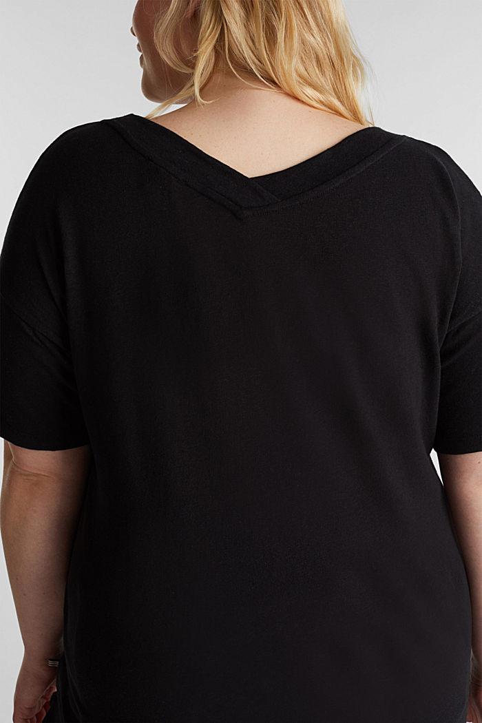 Linen blend CURVY V-neck top, BLACK, detail image number 2