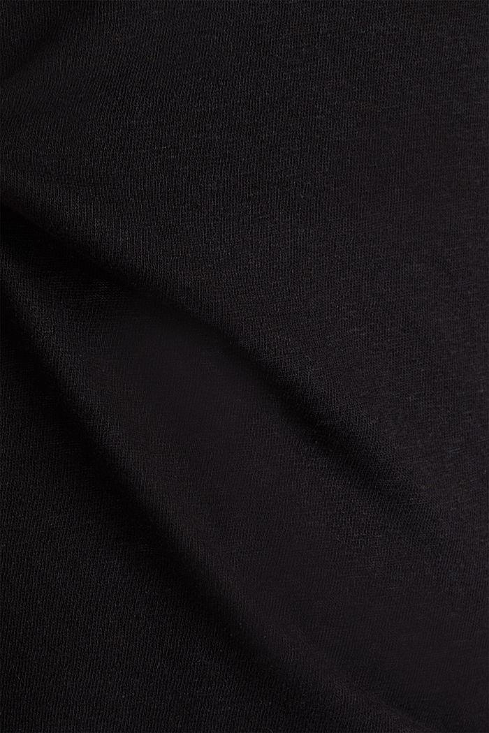 Linen blend CURVY V-neck top, BLACK, detail image number 4