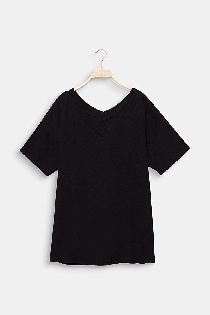 Linen blend CURVY V-neck top, BLACK, detail image number 6