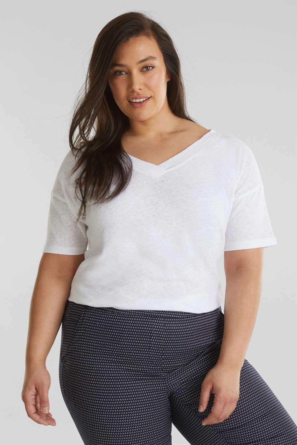 Linen blend CURVY V-neck top, WHITE, detail image number 0