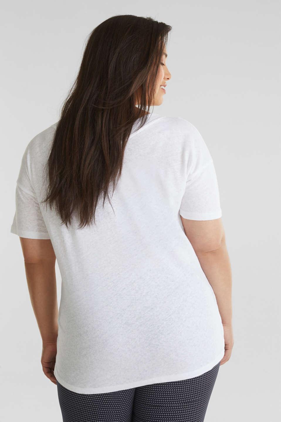 Linen blend CURVY V-neck top, WHITE, detail image number 3