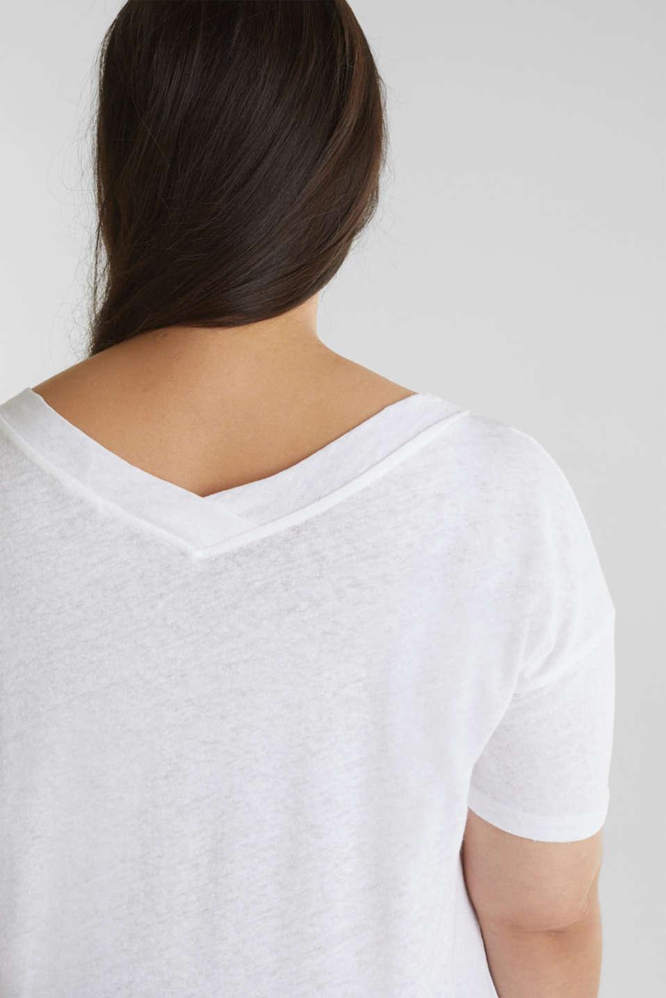 Linen blend CURVY V-neck top, WHITE, detail image number 2