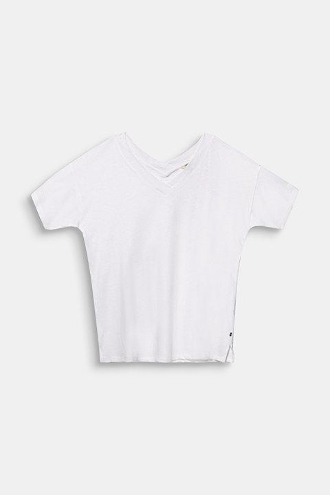 Linen blend CURVY V-neck top