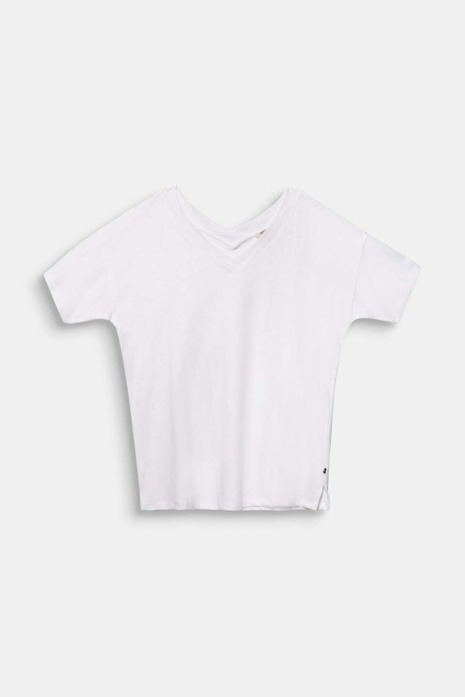 Linen blend CURVY V-neck top, WHITE, detail image number 5