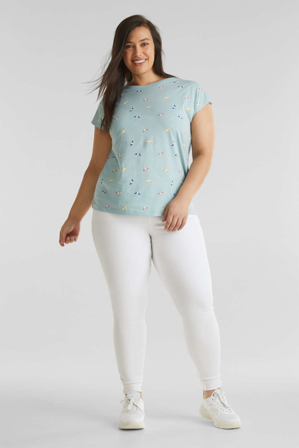 CURVY printed top, 100% cotton, LIGHT AQUA GREEN, detail image number 1
