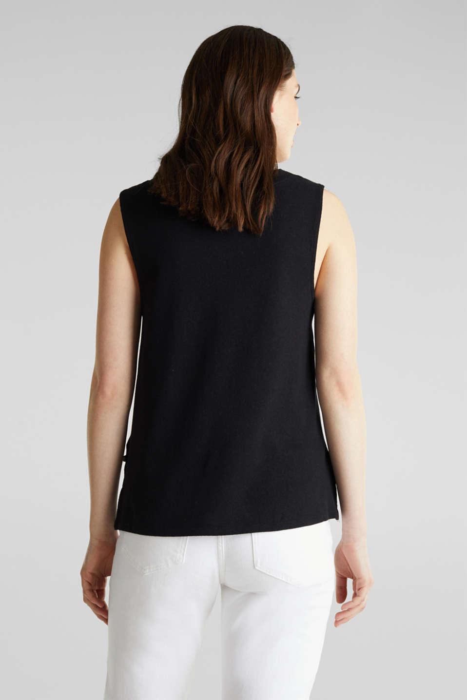 Linen blend: V-neckline top, BLACK, detail image number 3