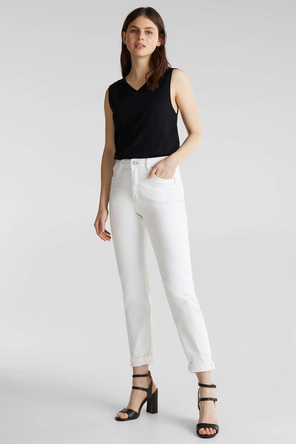 Linen blend: V-neckline top, BLACK, detail image number 1