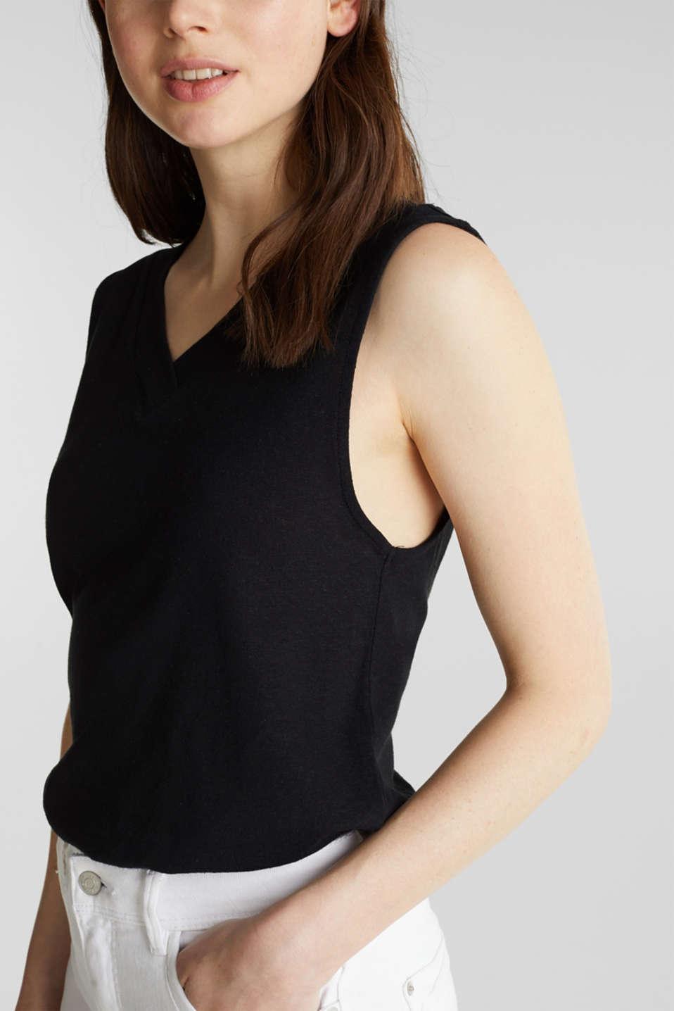 Linen blend: V-neckline top, BLACK, detail image number 2