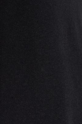 Linen blend: V-neckline top, BLACK, detail