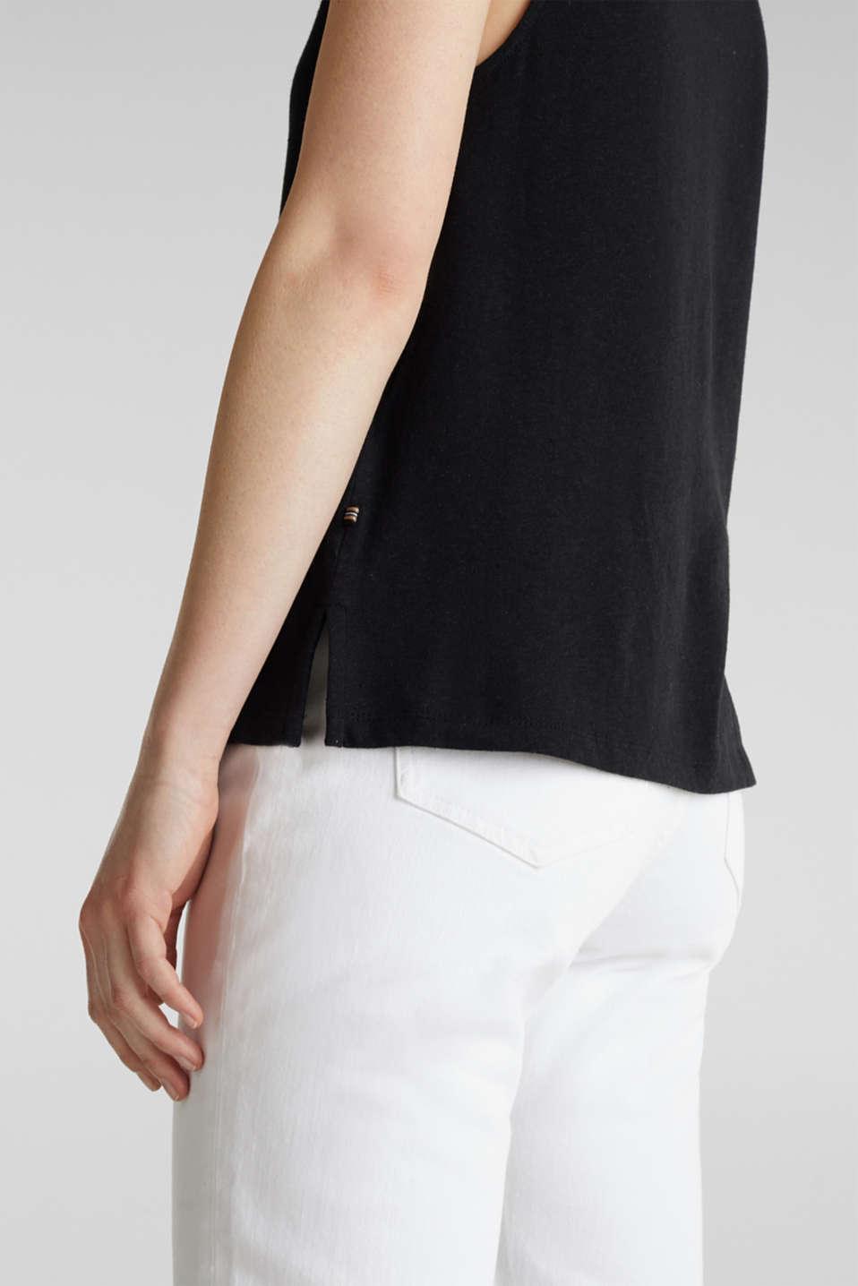 Linen blend: V-neckline top, BLACK, detail image number 5